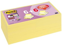 Memoblok 3M Post-it Z-Note S330-Y 76x76mm SS geel 6+6 gratis.