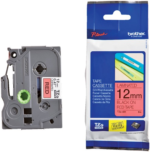 Labeltape Brother P-touch TZe-431 12mm zwart op rood.