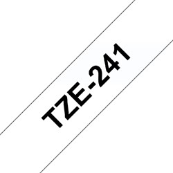 Labeltape Brother P-touch TZE241 18mm zwart op wit.