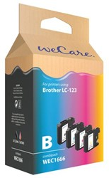 Inktcartridge WECARE LC-123 zwart + 3 kleuren (Brother).
