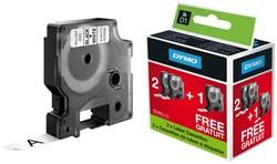 Labeltape Dymo 2+1 gratis 720530 12mmx7m zwart op wit.