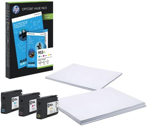 Inktcartridge HP 1CC21AE 953XL 3 kleuren HC + A4 papier.
