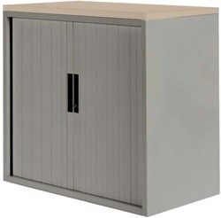 Roldeurkast Nice Price office 20H 120x75x45cm aluminiumlook met topblad eiken excl. legborden.