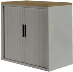 Roldeurkast 20H aluminiumlook met topblad noten.