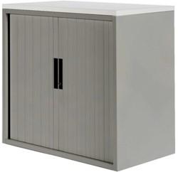Roldeurkast 20H aluminiumlook met topblad wit.