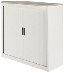 Roldeurkast Nice Price office 20H 120x75x45cm wit met topblad eiken excl. legborden.