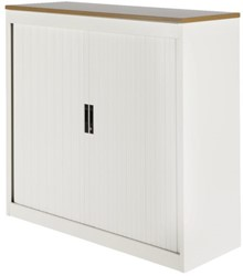 Roldeurkast Nice Price office 20H 120x75x45cm wit met topblad noten excl. legborden.