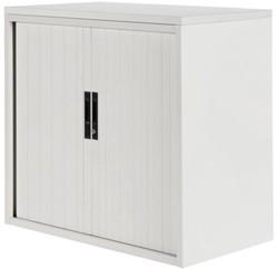 Roldeurkast Nice Price office 20H 120x75x45cm wit met topblad wit excl. legborden.