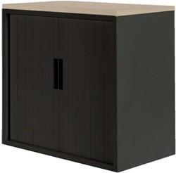 Roldeurkast Nice Price office 20H 120x75x45cm zwart met topblad eiken excl. legborden.