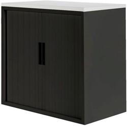 Roldeurkast 20H zwart met topblad wit.