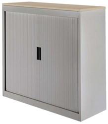 Roldeurkast 30H aluminiumlook met topblad eiken.