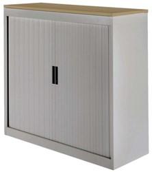 Roldeurkast 30H aluminiumlook met topblad noten.