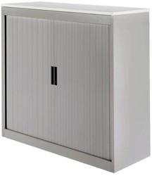 Roldeurkast Nice Price office 30H 120x123x45cm aluminiumlook met topblad wit excl. legborden.