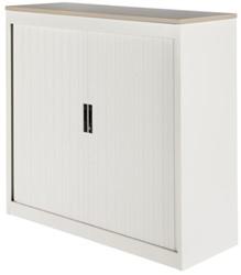 Roldeurkast Nice Price office 30H 120x123x45cm wit met topblad eiken excl. legborden.