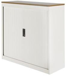 Roldeurkast Nice Price office 30H 120x123x45cm wit met topblad noten excl. legborden.