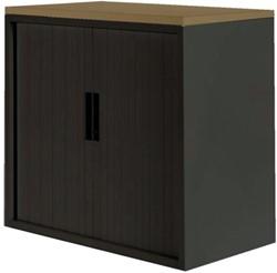 Roldeurkast 30H zwart met topblad noten.