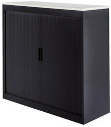Roldeurkast 30H zwart met topblad wit.