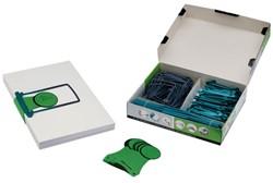 Starterkit Jalema archief met 100 extra lange mechanieken, 100 labels en 8 filelifters kleur petrol.