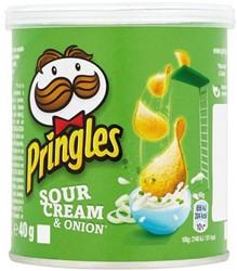 Chips pringles sour and onion 40 gram. Afname per 10 stuks.