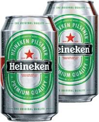 Bier Heineken blikje 0.33 liter. Afname per 24 blikjes.