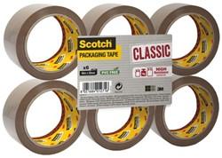 Verpakkingstape Scotch Classic 50mmx66m bruin 6 rollen.