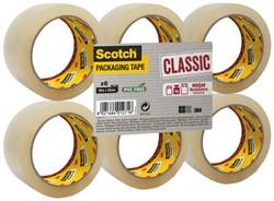 Verpakkingstape Scotch Classic 50mmx66m transparant 6 rollen.