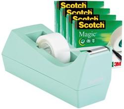 Plakbandhouder Scotch C38 + 4 rol magic tape 19mmx33m mint.
