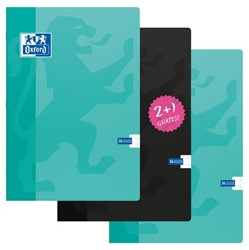 Schrift Oxford school A4 soepele kartonnen kaft in assorti kleuren - 36 vel 10mm geruit papier 2+1 gratis.