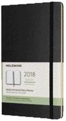 Zakagenda 2018 Moleskine Classic Weekly Horizontal 9x14cm 12 maanden 7 dagen per 2 pagina's zwart ivoorkleurig papier.