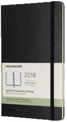 Agenda 2018 Moleskine Classic Weekly Horizontal 13x21cm 12 maanden 7 dagen per 2 pagina's zwart, ivoorkleurig papier.
