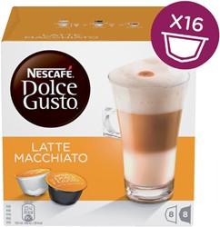 Koffiecups Dolce Gusto Latte Machiato 16 cups voor 8 kopjes.