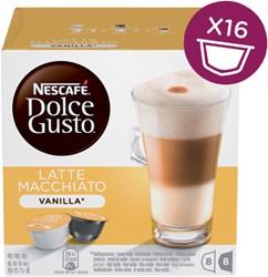 Koffiecups Dolce Gusto Vanille Machiato 16 cups voor 8 kopjes.