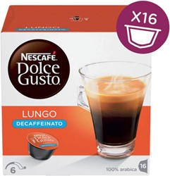 Koffiecups Dolce Gusto Lungo Decaffeinato 16 cups.