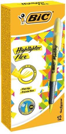 Markeerstift Bic flex geel.