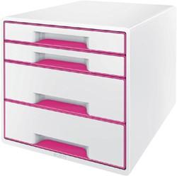 Ladenbox Leitz WOW A4 4 laden (2 groot en 2 klein) wit/roze.