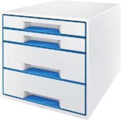 Ladenbox Leitz WOW A4 4 laden (2 groot en 2 klein) wit/blauw.