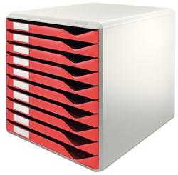 Ladenbox Leitz 5281 A4 10 laden rood.