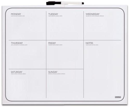 Whiteboard Desq 40x50cm weekplanner zonder rand met weekagenda opdruk inclusief stift. (4216)