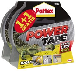 Plakband Pattex Power Tape 50mm x 10 meter grijs 1+1 gratis.