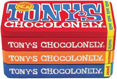 Chocolade Tony's Chocolonely reep 180 gram in blik puur-melk en karamel zeezout.
