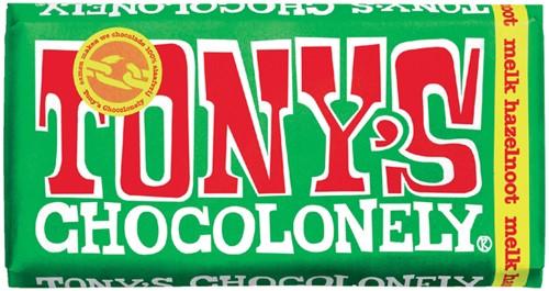 Chocolade Tony's Chocolonely reep 180 gram melk hazelnoot.