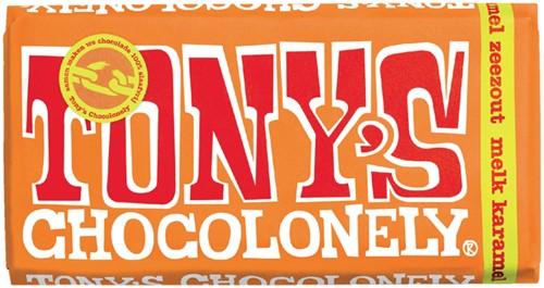 Chocolade Tony's Chocolonely reep 180 gram melk karamel zeezout.