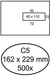 Venster envelop Quantore 162x229mm venster rechts 40x110mm zelfklevend 80grams wit 500 stuks.