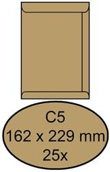 Envelop Clevermail akte C5 162x229mm 90 grams bruin 25 stuks.