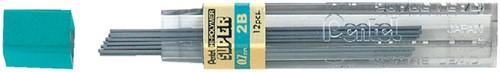 Potloodstift Pentel 0.7mm zwart per koker 2B.
