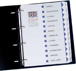 Tabbladen Avery L7455-12 9-gaats nr.01640061 12-delig wit met bedrukbare inhoudsopgave en tabs.