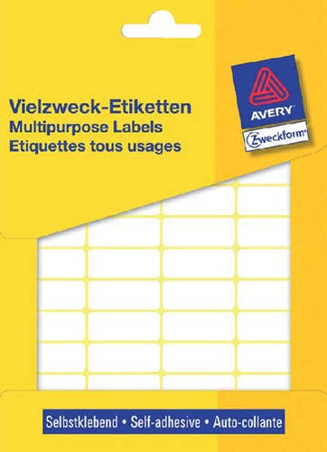 Etiket Avery Zweckform 3319 29x18mm wit 960 stuks.