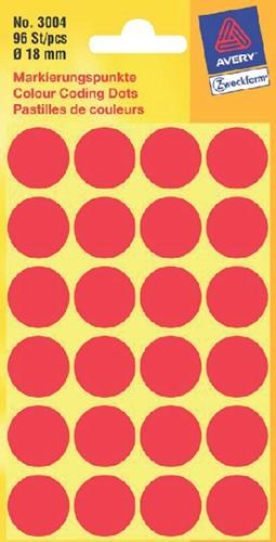 Etiket Avery Zweckform 3004 rond 18mm rood 96 stuks.