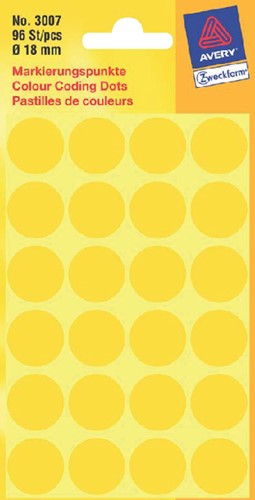 Etiket Avery Zweckform 3007 rond 18mm geel 96 stuks.
