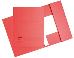 Dossiermap 3-kleps Quantore A4 320 grams karton rood. Afname per 25 stuks.